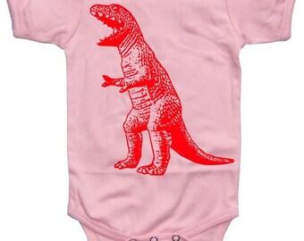 NEW - Roaring Red Dinosaur Light Pink Baby Girl Bodysuit