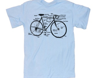 Mens BICYCLE DIAGRAM T-shirt - Light Blue
