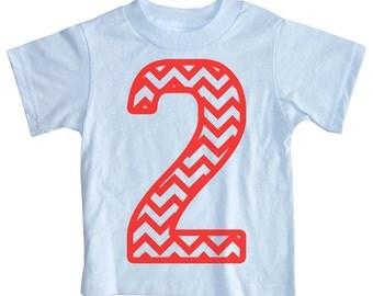 Kids CHEVRON STRIPE Second Birthday T-shirt - Light Blue