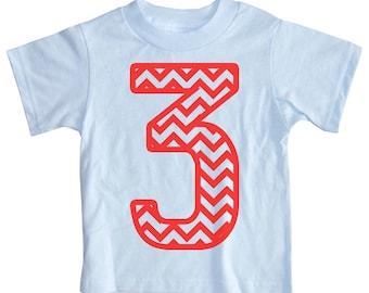 Kids CHEVRON STRIPE Third Birthday T-shirt - Light Blue