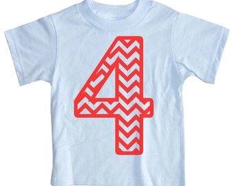 Kids CHEVRON STRIPE Fourth Birthday T-shirt - Light Blue