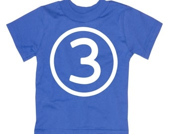 Kids CIRCLE Third Birthday T-shirt - Royal Blue