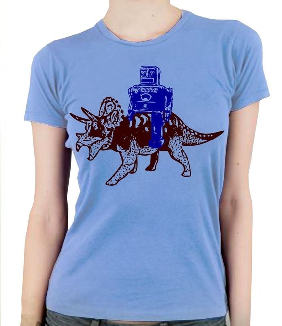 Robot Rides Triceratops Funny Science Geek Dinosaur Light Blue Women's T-Shirt in S, M, L, XL