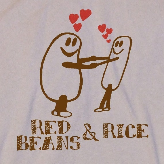 Red Beans And Rice Illustration Screen Print Tan T-Shirt in S, M, L, XL, XXL
