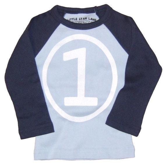 First Birthday Happy 1st Party Boys Sky Blue and Navy Long Sleeve Raglan T-Shirt