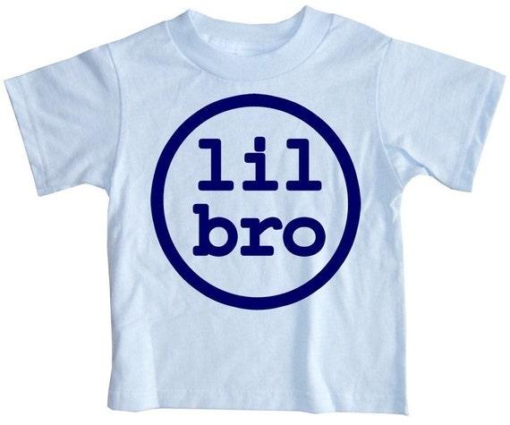 Lil Bro Little Brother Sky Blue Modern Circular Garphic Baby or Toddler Boy's T-Shirt