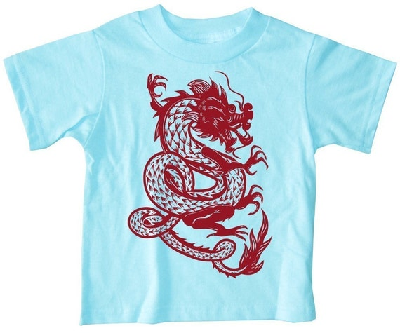 Kids Chinese Dragon Shirt Short Sleeve Turquoise Blue T-Shirt