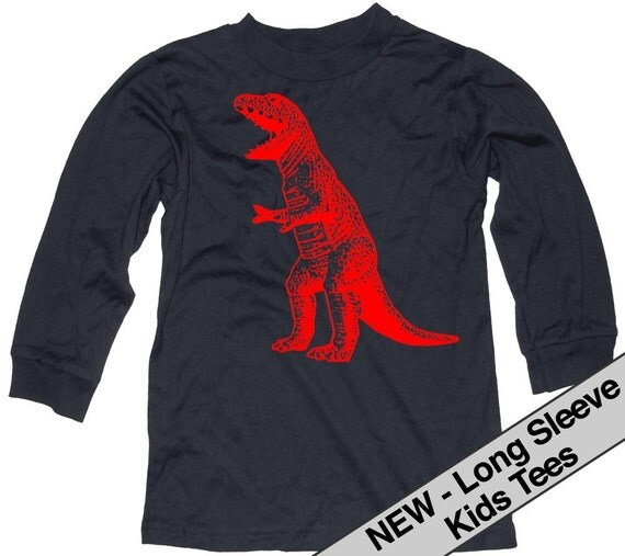 Roaring Red Dinosaur T Rex Baby, Toddler or Kids Black Long Sleeve T Shirt 12-18 Months, 2T, 4T, 6T