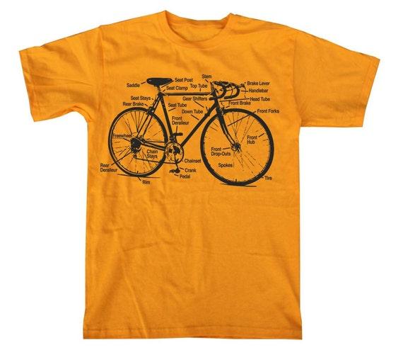 Retro Bike Diagram Bicycle Shirt Screen Printed Gold T-Shirt in S, M, L, XL, XXL Men's Unisex