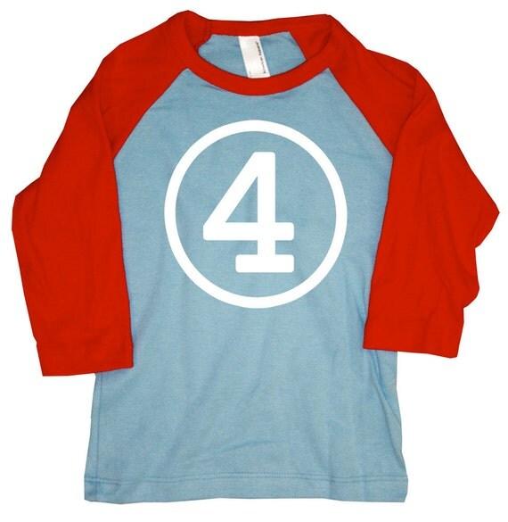 Kids FOURTH BIRTHDAY Light Blue + Red Raglan T-shirt
