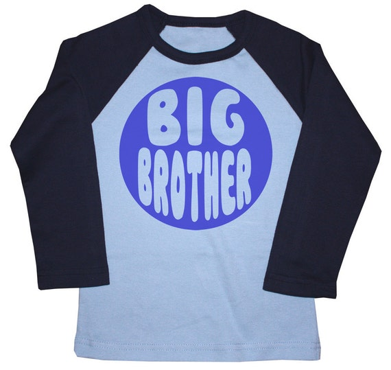 Kids BIG BROTHER Raglan T-shirt - Light Blue + Navy
