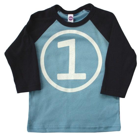 Kids CIRCLE First Birthday Raglan T-shirt - Light Blue + Navy