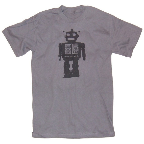 Steel Grey Tonal Robot Graphic Print Future Style T-Shirt in S, M, L, XL, XXL
