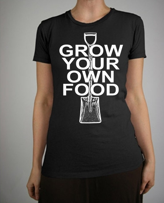 Grow Your Own Food Retro Design Depression Print Alternative Apparel Cap Sleeve Women's T-Shirt in Jet Black S, M, L, XL