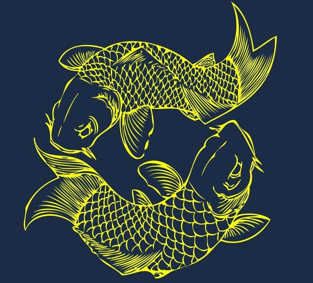 Koi japanese fish illustration print navy t shirt in small for Tiny koi fish