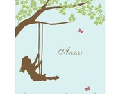 Personalized Nursery Art Prints for a Boy, Girl, or Siblings - Choose your Silhouette(s) - Kids at Play - 8x10