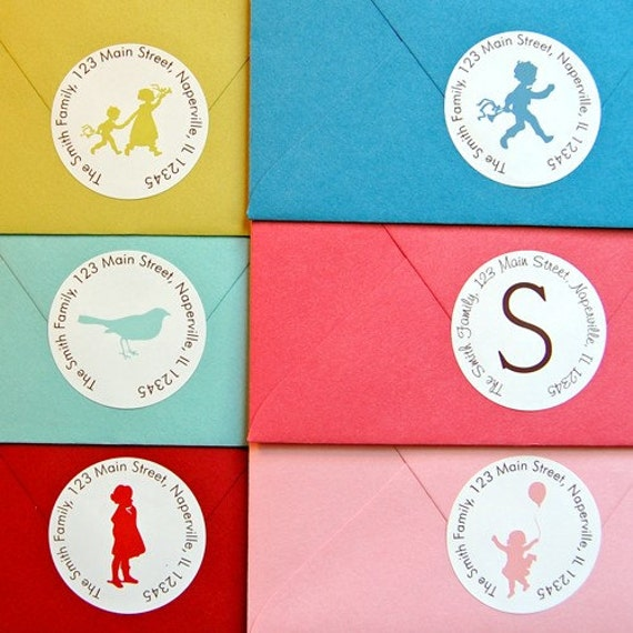 Personalized Return Address Labels - Small Circle Stickers - Set of 24