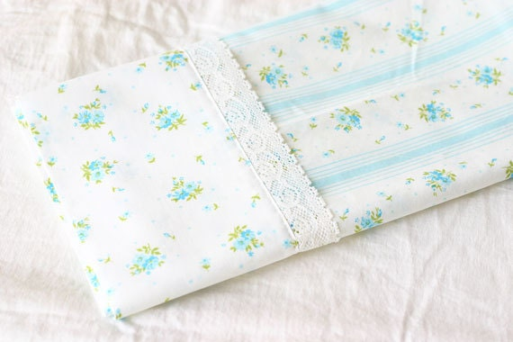 Vintage Pillow Case with Lace  - Perfect for a pillowcase dress