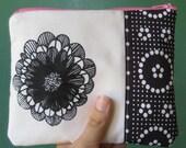 Screenprint Zipper Pouch Polka Dot Bubblegum Flowers