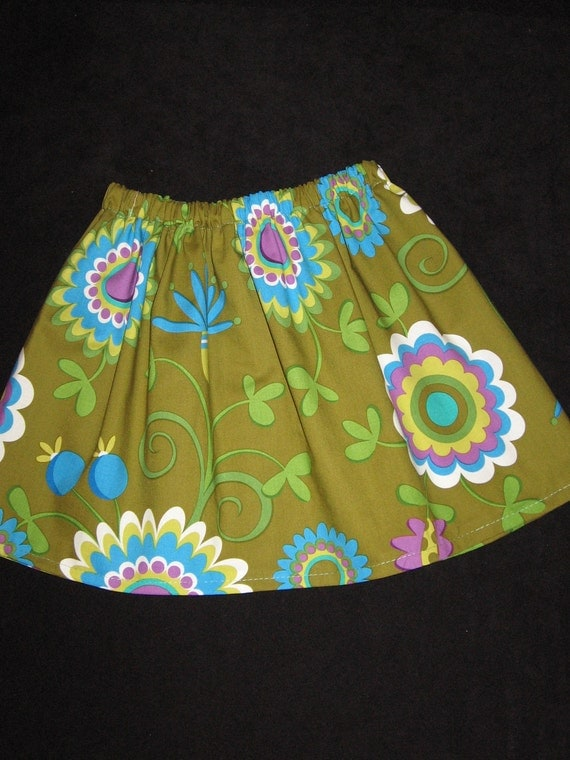 RESERVED for Tracy...Dancing Flowers in Olive Ten Dollar Skirt SALE...12 18 24 2T 3T 4T 5 6 7 8