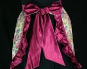 Vintage Look Wine Satin and Floral Cotton Adult Apron