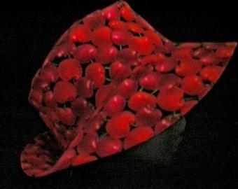 Sunhat Summer Hat Red Cherry Print Reversible Fabric Hat Headwear Cloche
