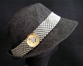 Black Brocade Fabric Hat Fedora Ganster Hat Formal Headwear
