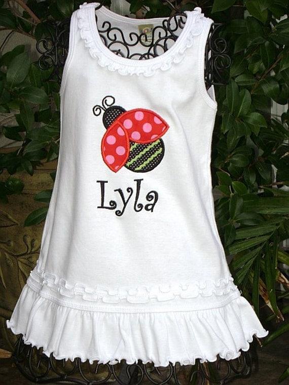 Personalized Ladybug Lady bug Birthday Dress boutique free name monogram custom embroidered short tank long sleeve sew cute creations