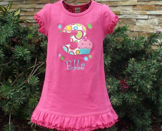 Personalized Birthday Girl Cupcake Dress boutique custom  free name monogram embroidered short tank long sleeve sew cute creations dots