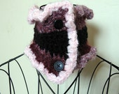 Pink and Black Soft Ruffled Neck Warmer Scarfette