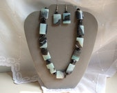 Gemstone necklace of Flat Oblong creamy blue and black Amazonite Stones with matching Earrings