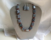 Gemstone Necklace Snowflake Obsidian with Earrings and orange spacers