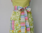 green and plaid . full apron