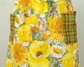 yellow floral . half apron
