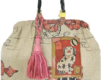 dog & ball linen tote,SALE was 178. reduced to 125.