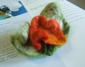 Peach and Green Handfelted Flower Pin-Brooch