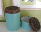 Vintage Faux Bois Topped Canister Set