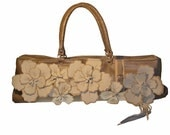 Top Handle Taupe Handbag With Leather Flowers Made With Reclaimed Materials