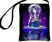 Uxia Beautiful Moonlight Mermaid Turtle Purple Gothic Fantasy, Myka Jelina Art, Cross Body Essentials Bag