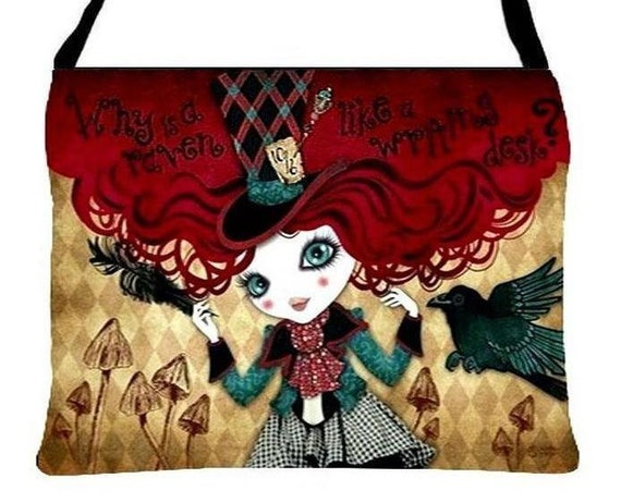 Mad Riddle Wonderland Fantasy Essentials Handbag Purse, Sandra Vargas Artwork, Choice of Strap Length