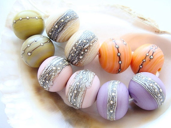 5 Etched Lampwork Pairs