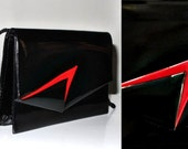 80's Vintage Retro Disco Patent Black & Red Purse