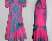 Hawaiian Dress / 70s Vintage / Ethnic Pink & Turquoise