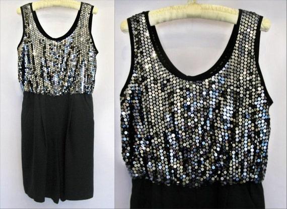 SALE 80's Vintage Disco Retro Silver Sequin Black Romper / Jumpsuit