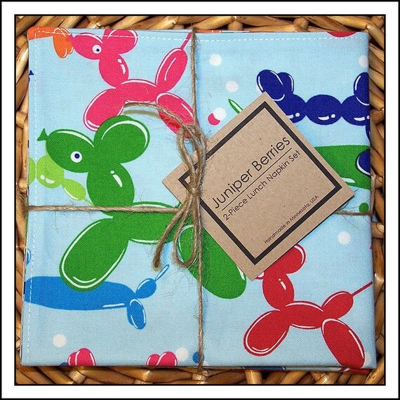 Balloon Animals Pair of Cloth Lunch Napkins