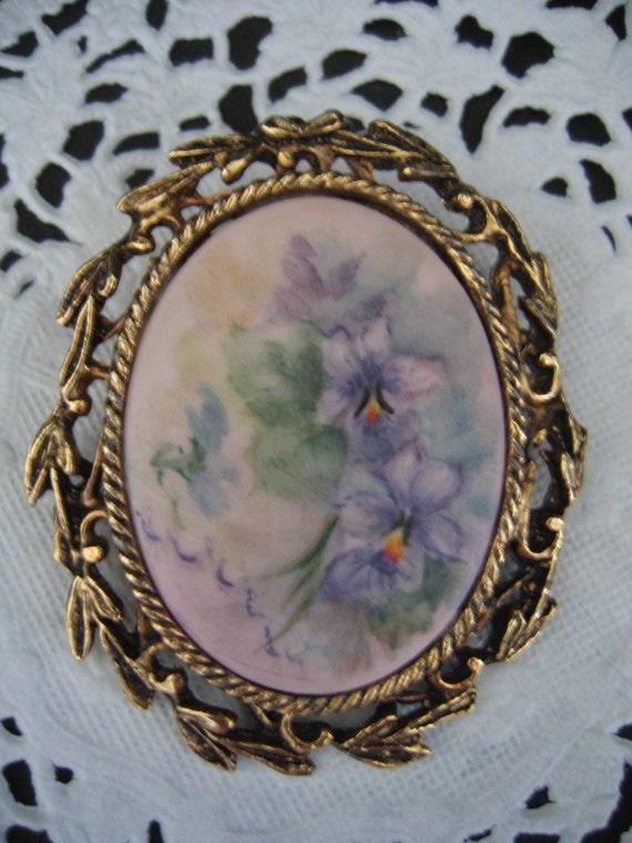 Vintage Hand Painted Stines Dresden Porcelain H P Pin Brooch Purple Flowers
