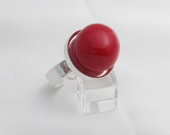 Bubble Gum adjustable silver-plate ring - Red