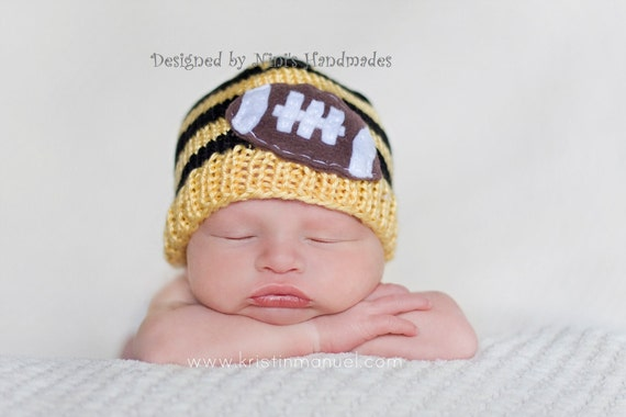 Knit Beanie with Football applique,  in the colors Soft Yellow (Gold yellow)  and Black, Made in the USA, kids accessories and fashion