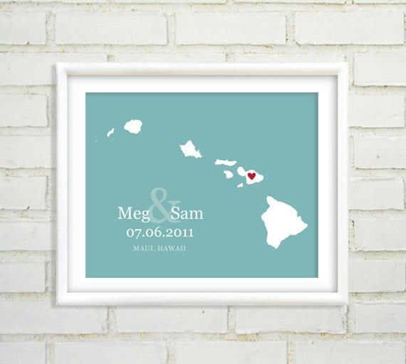 Wedding Gifts From Hawaii: Hawaiian Island Map Wedding Gift By NearAndDearDesigns On Etsy