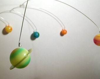 8 Planets, Mobile, Hanging, Art Sculpture, by Julie Frith, Calder-Styled, Kinetic, Art